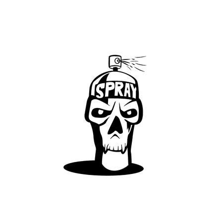Illustration for Spray icon skull vector illustration - Royalty Free Image