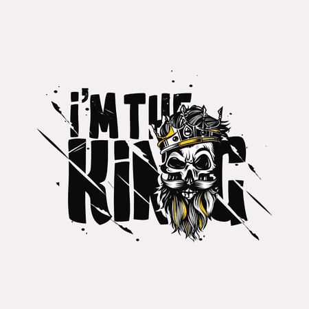 Illustration pour Hand drawn king, t-shirt print vector illustration - image libre de droit