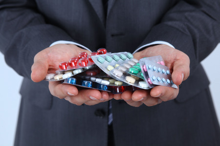 Tablets in the hands of a businessman