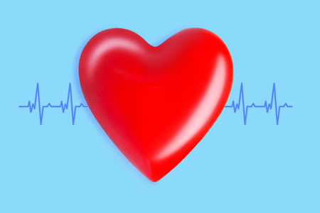 Photo pour healthcare and medicine concept. close up of red heart with ecg line on blue background - image libre de droit
