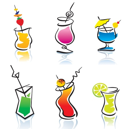 Set of the different cocktails. Vector illustration.