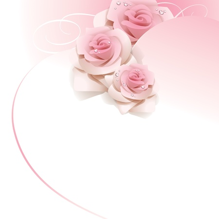 Wedding background with pink roses.