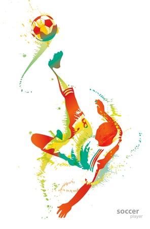 Soccer player kicks the ball.