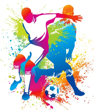 Soccer players with a soccer ball. Vector illustration.