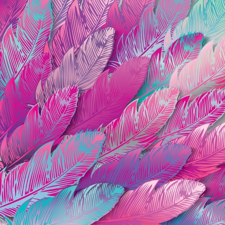 Seamless background of iridescent pink feathers, close up. Vector illustration.