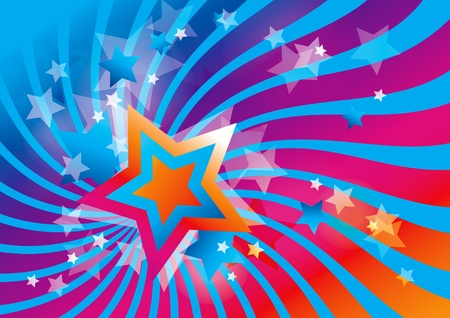 Abstract background with stars and colorful waves