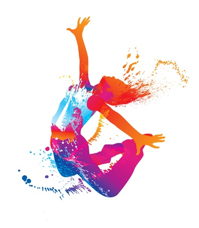 Ilustración de The dancing girl with colorful spots and splashes on white background. Vector illustration. - Imagen libre de derechos