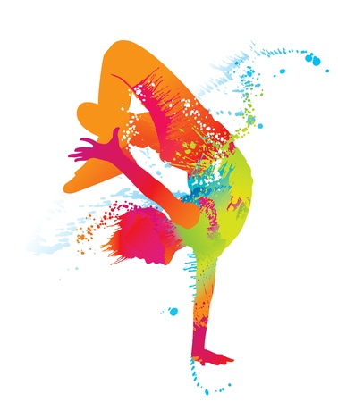 The dancing boy with colorful spots and splashes on white background. Vector illustration.
