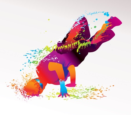 The dancing boy with colorful spots and splashes on a light background. Vector illustration.