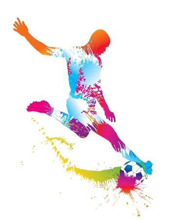 Ilustración de Soccer player kicks the ball. Vector illustration. - Imagen libre de derechos