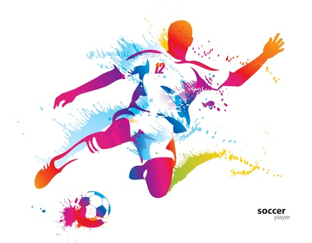 Soccer player kicks the ball. The colorful vector illustration with drops and spray.