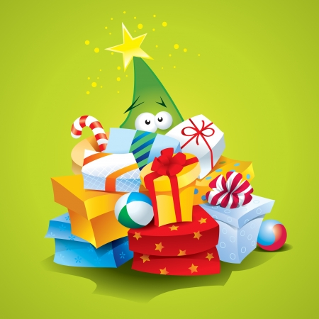 Funny Christmas tree with lots of gifts in a colorful packaging on a green backgroundのイラスト素材