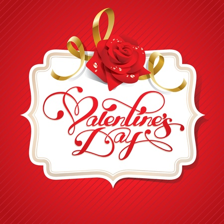 Valentine card with rose and calligraphic lettering on a red background. Vector illustration.