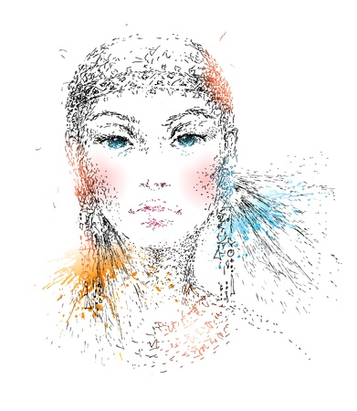The young beautiful girl  Hand-drawn portrait made by a pen with colorful spots and sprays