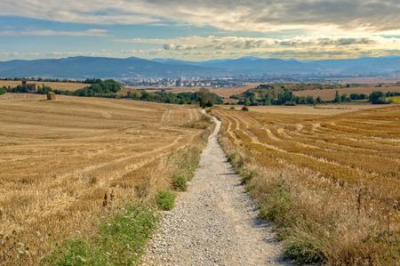 Way of Saint James in Navarre under blue sky, Spain