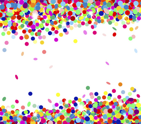 Banner festive multicolored confetti falling