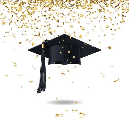 graduate cap and golden confetti