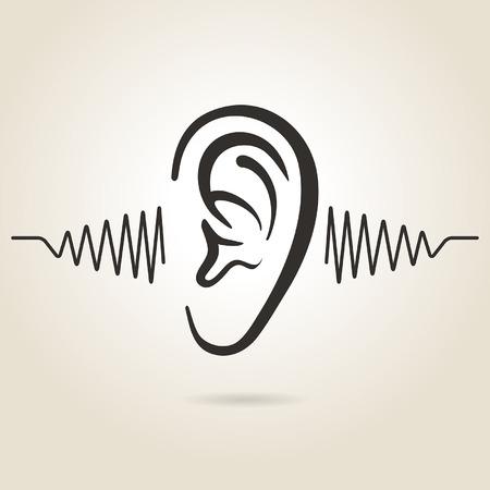 Illustration pour ear icon on light background - image libre de droit