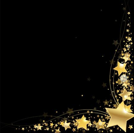 Illustration for frame of gold stars on a black background - Royalty Free Image