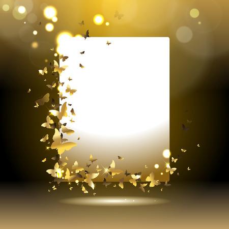 Ilustración de banner with gold butterflies on a dark background - Imagen libre de derechos