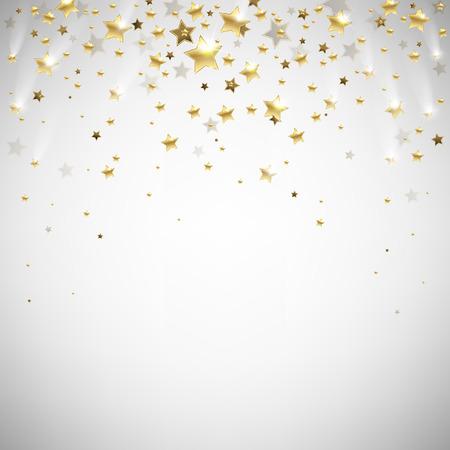 golden falling stars on a light background