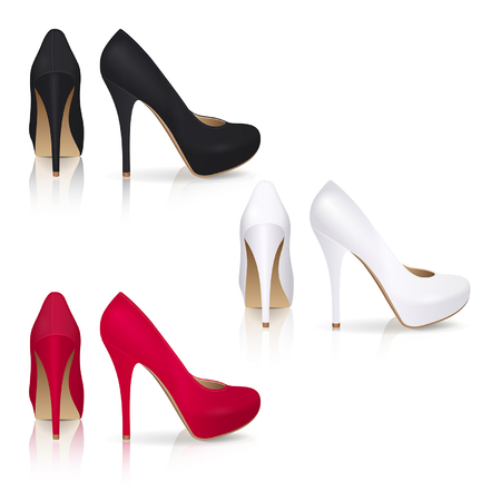 High-heeled shoes in black, white and red color on a white background