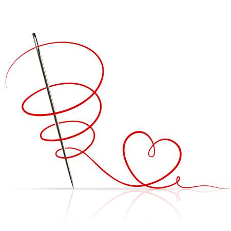 Ilustración de sewing needle with red thread on white background - Imagen libre de derechos