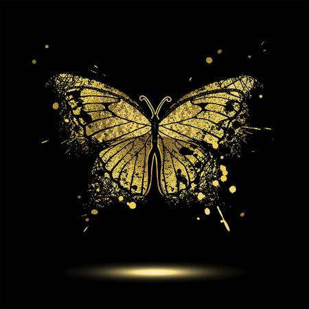Illustration pour Decorative golden butterfly on a black background - image libre de droit