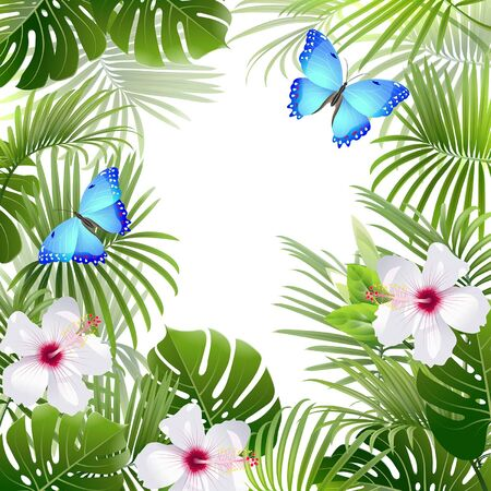 Illustration pour background with tropical plants and blue butterflies - image libre de droit
