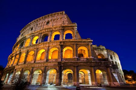 Colosseum Dome in Twilight with ultra-wild Perspective