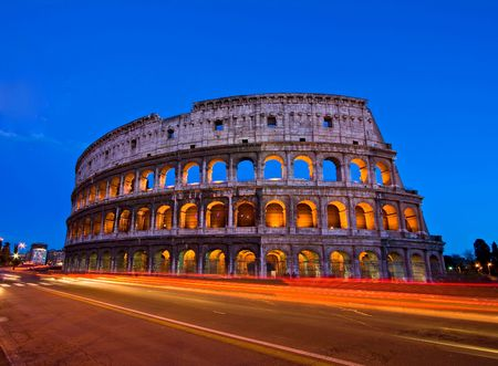 Colosseum at dusk from in front of Metro, Rome Italy