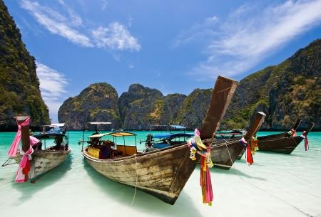 Long Tails Boat at Maya bay, Phi-Phi Island , Phuket Thailand