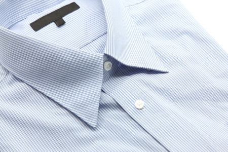 Close up view of a generic blue business shirt with a line pattern