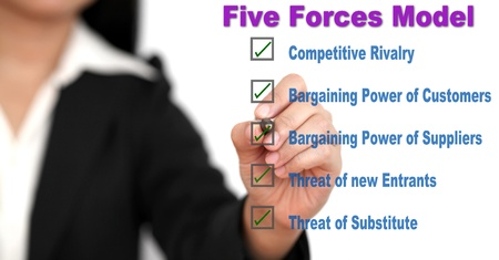 Asian business woman writing Competitive rivalry porter five forces business whiteboard diagram