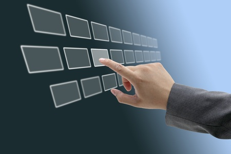 Foto de asian business man touching on touch screen interface - Imagen libre de derechos