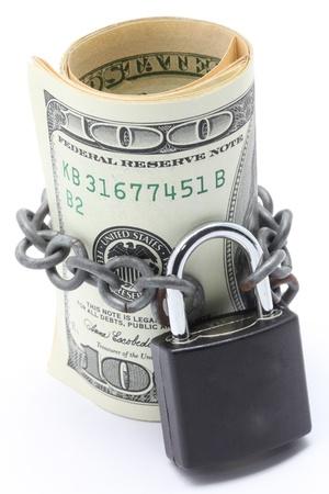 Photo pour Dollars Banknote bills Cash Locked for Money Saving Insurance Concept - image libre de droit