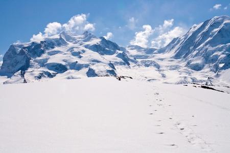 Landscape of Snow Mountain Range at Matterhorn Alps Alpine Region Switzerland