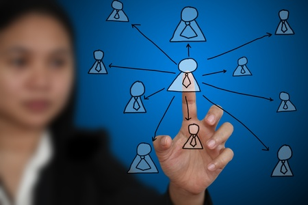 Business Woman touch on Key Person on Virtual Technology Screen using for Business decentralization concept