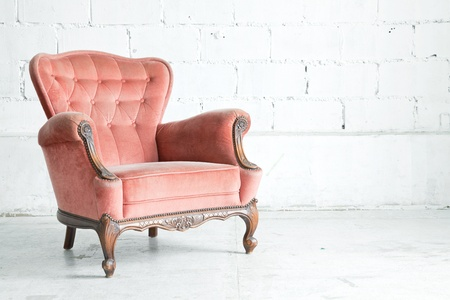 Pink classical style Armchair sofa couch in vintage room