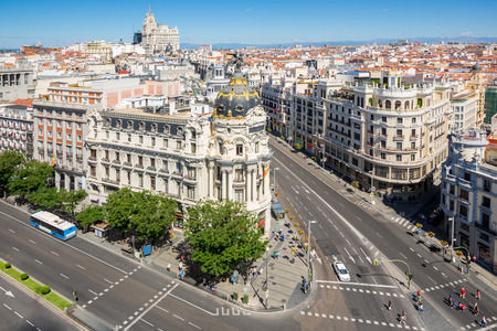 aerial view of Gran Via, main shopping street in Madrid, capital of Spain, Europe