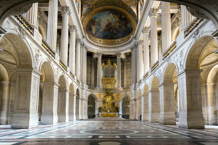 Great Hall Ballroom of chapel in Versaille Palace Paris France