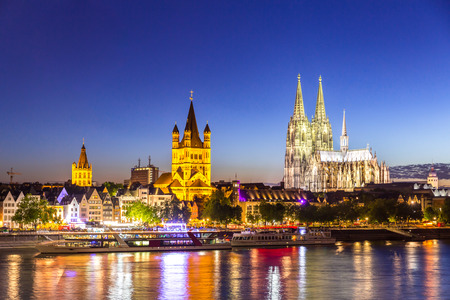 Cologne Cathedral along river rhine Germany.