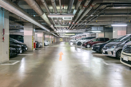 Parking garage underground, interior shopping mall at night