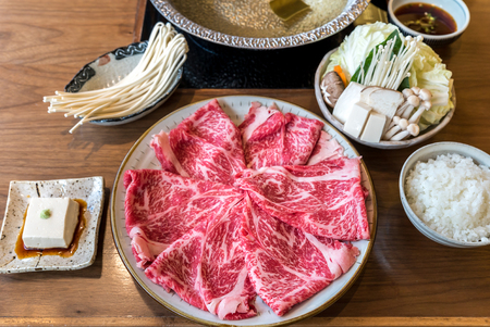 Photo for A5 Wagyu beef set for Sukiyaki Shabu Shabu with Vegetable, Groumet Japanese hot pot cuisine - Royalty Free Image