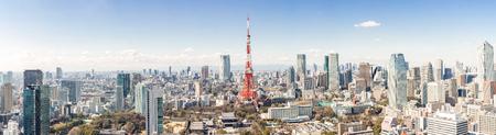 Photo pour Tokyo Tower with skyline in Tokyo Japan - image libre de droit