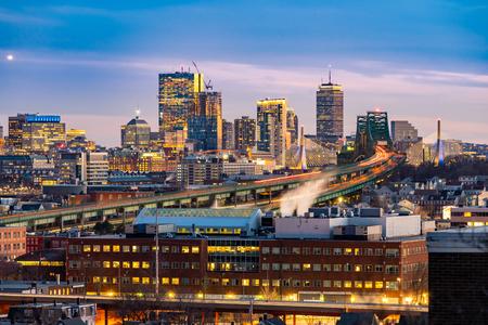 Photo pour Boston Cityscape with highway trail to Boston MA USA at night. - image libre de droit