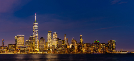 Photo for New York city Lower Manhattan skyline cityscape at dusk from New Jersey. - Royalty Free Image