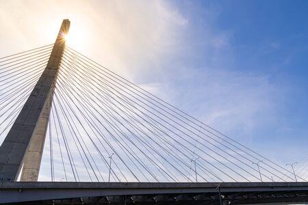 Photo pour Boston Zakim bridge at Boston downtown MA USA - image libre de droit
