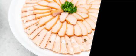 Foto de Variety of Cold cut, Chicken and pork, for salad station in buffet line, panoramic Large Leaderboard crop size - Imagen libre de derechos