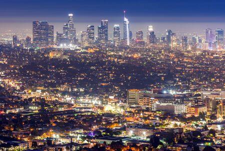 Foto für Los Angeles Downtown sunset aerial view, California, USA - Lizenzfreies Bild